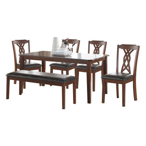 6 Piece Dining Set In Black Leatherette And Espresso