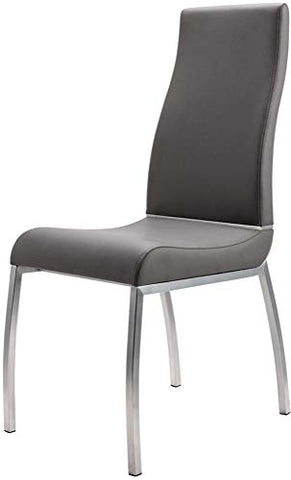 Benjara Faux Leather Upholstered Dining Chair with Stainless Steel Legs, Set of Two, Gray and Silver,