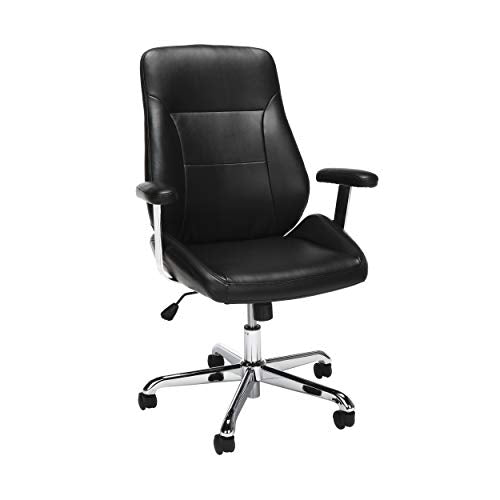 OFM Core Collection Office Chair, Mid Back Leather Task Chair, in Black (730-L-BLK)