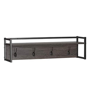 Afton 4-Hook Metal Frame Wall Shelf