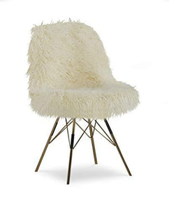 Linon Home Décor AMZN1272 Bradley Flokati Gold Metal Base Chair, Ivory