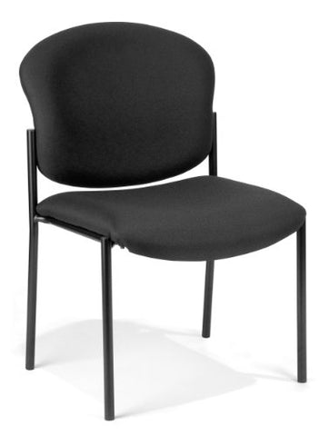 deluxe armless stack chair - black fabric