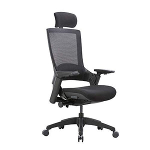 CLATINA Ergonomic High Swivel Executive Chair with Adjustable Height Head 3D Arm Rest Lumbar Support and Upholstered Back for Home Office BIFMA Certified Black Mesh/High Back