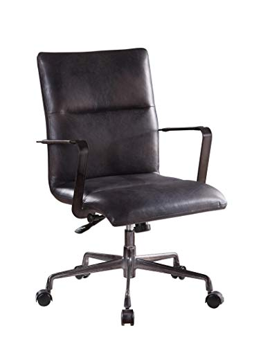 ACME Indra Office Chair - 92569 - Onyx Black Top Grain Leather
