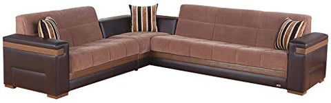ISTIKBAL Multifunctional Furniture Living Room SECTIONAL SOFA SLEEPER Troya Brown MOON Collection