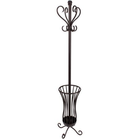 Traditional Metal Coat Rack with Umbrella Stand, Bronze Finish