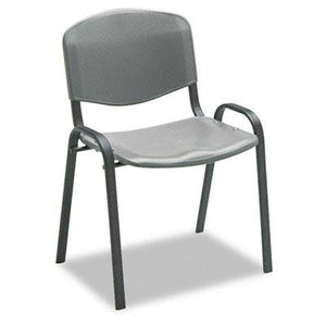 Safco 4185CH Stacking Chairs Charcoal w/Black Frame 4/Carton