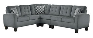 "Homelegance Sinclair 84"" x 107"" Fabric Sectional Sofa, Gray"