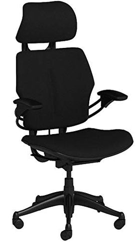 Humanscale Freedom Office Desk Chair with Headrest and GEL Seat, Graphite Frame Black Wave Fabric, Standard Casters