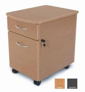 OFM Modular Mobile Pedestal 2-Drawer File / Box Cabinet, Maple
