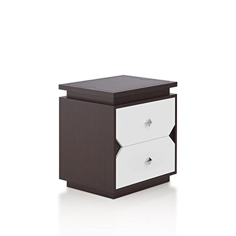 ioHOMES Ikarah Contemporary 2-Drawer Two-Tone Nightstand Black and White