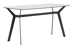 "Studio Designs Home Archtech 60"" W x 32"" D Mid-Century Modern Dining, Desk, Metal and 8mm Thick Glass Table in Pewter Gray"