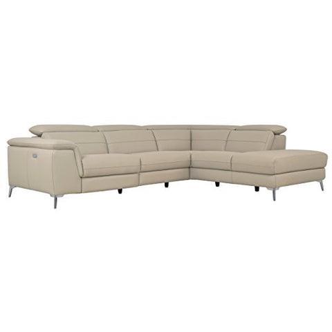 "Homelegance 113"" x 85"" Leather Reclining Sectional Sofa, Cream"