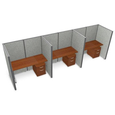 "Privacy Station Panel System 1x3 Configuration Top Finish: Cherry, Panel Color: Gray Vinyl, Size: 63"" H x 60 - 188.5"" W"