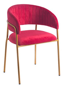Bold Tones Red Silk Velvet and Gold Metal Modern Chair, 1