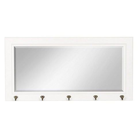 DesignOvation Pub Mirror with 5 Metal Hooks, White
