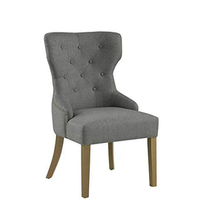 Benjara Polyester Upholstered Wooden Dining Chair with Button Tufted Wing Back, Gray and Brown