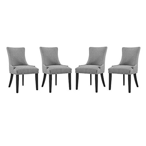 Modway Marquis Dining Chair Fabric Set of 4, Four, Light Gray