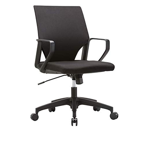 CLATINA Ergonomic Mid-Back Upholstered Swivel Task Chair with Black Plastic Arm Rest and Base for Home and Office BIFMA Certified
