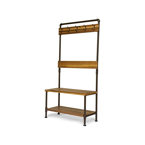Christopher Knight Home Kay Indoor Industrial Acacia Wood Bench with Shelf and Coat Hooks, Teak Finish + Rustic Metal