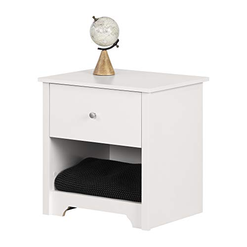 South Shore Vito 1-Drawer Nightstand Pure White with Matte Nickel Handles