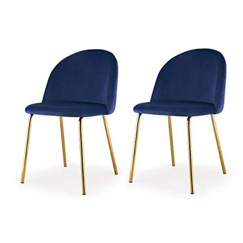 MEELANO Dining Chair, One Size, Gold/Navy