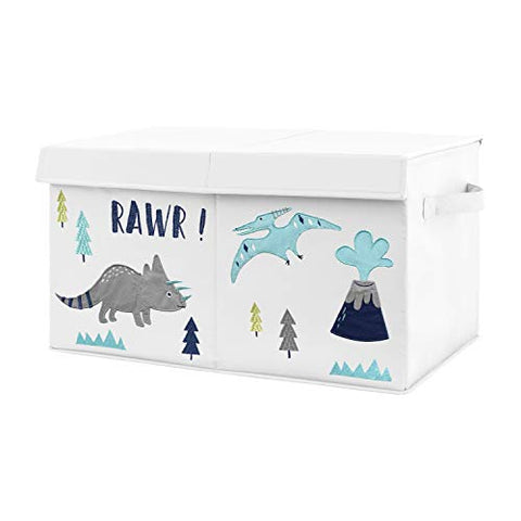 Sweet Jojo Designs Navy Blue, Turquoise and Grey Modern Dino Boy Baby Nursery or Kids Room Small Fabric Toy Bin Storage Box Chest for Mod Dinosaur Collection