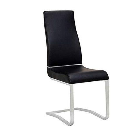 Benjara Metal Chair with Faux Leather Upholstery, Set of Two, Black and Silver