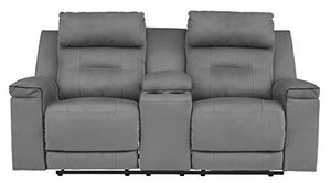 Signature Design by Ashley Trampton Power Reclining Loveseat Console Adjustable Headrest Smoke