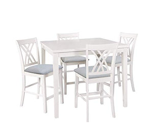 Powell Maggie 5 Piece Counter Height Dining Set in Glossy White