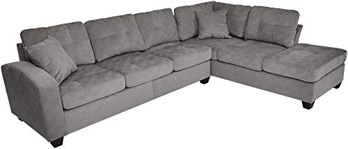 "Homelegance Emilio 110"" x 78"" Fabric Sectional Sofa, Taupe"
