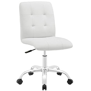 Modway Prim Ribbed Armless Mid Back Swivel Conference Office Chair In White