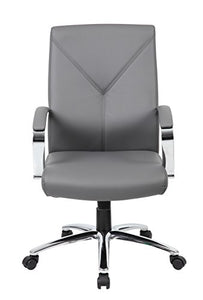 Boss Office Products LeatherPlus Executive Chair in Grey
