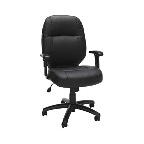 OFM Core Collection Stimulus Series Leatherette Executive Mid-Back Chair with Adjustable Arms, in Black (521-LX-T-AA)