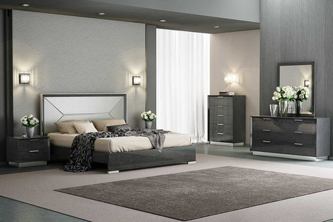 Bed King, High Gloss Grey, Taupe Faux Leather Headboard
