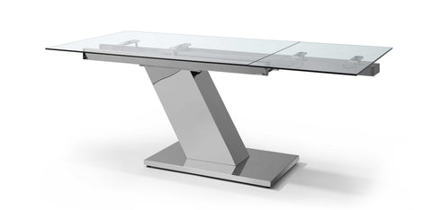 Extendable Dining Table 1/2in Tempered Clear Glass Top, Aluminum Plates, Stainless Steel Base