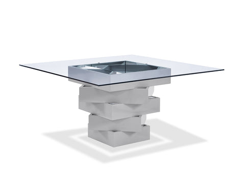 Dining Table, High Gloss Gray Lacquer Geometric Base With Mirrors, 12Mm Clear Glass Top