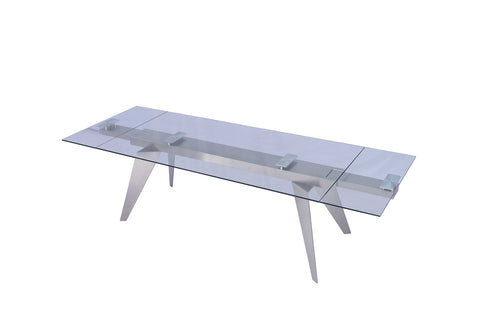 "Extendable Dining Table 1/2"" Tempered Clear Glass Top"