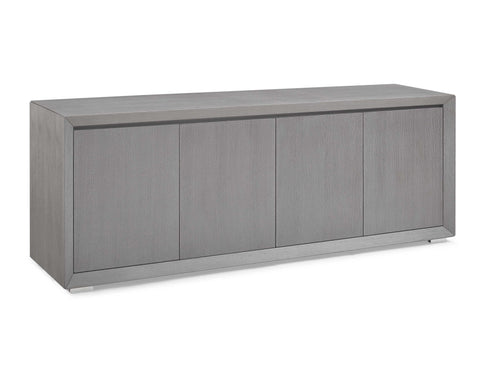 Buffet 4 Door With Gray Oak Veneer And Polished Stainless Steel Body And