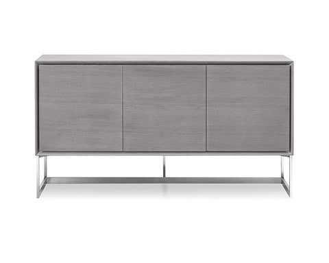 Buffet Gray Oak Veneer Body Polished Stainless Steel Legs