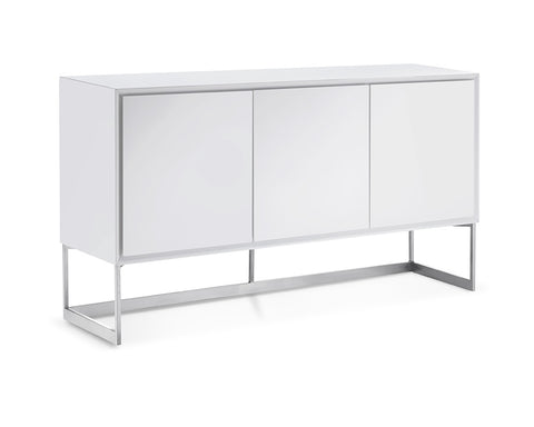 Buffet High Gloss White Body Polished Stainless Steel Legs