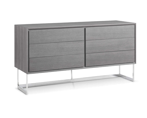 Buffet Gray Oak Veneer Polished Stainless Steel Legs