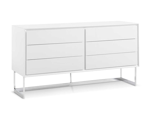 Buffet High Gloss White Polished Stainless Steel Legs