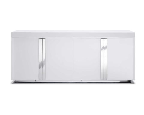 Buffet In High Gloss White Lacquer And Polished Stainless Steel