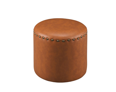 3217-BR Brown Faux Leather Round Ottoman