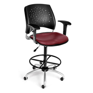 Star Swivel Chair-Vinyl Seat-ArmsDk Wine