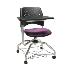OFM Stars Foresee Series Tablet Chair with Removable Fabric Seat Cushion - Student Desk Chair, Plum
