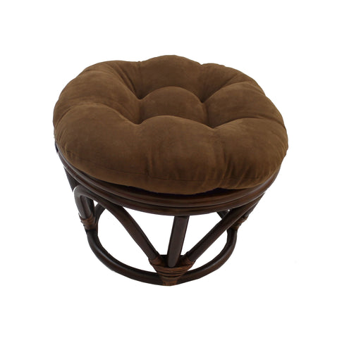 Rattan Ottoman with Micro Suede Cushion -Chocolate