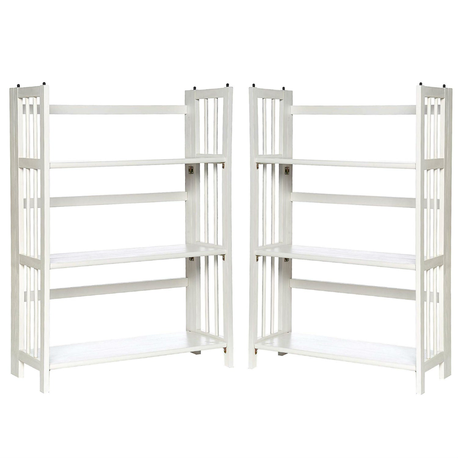"Casual Home 3-Shelf Folding Stackable Bookcase (27.5"" Wide)-White (Pack of 2)"