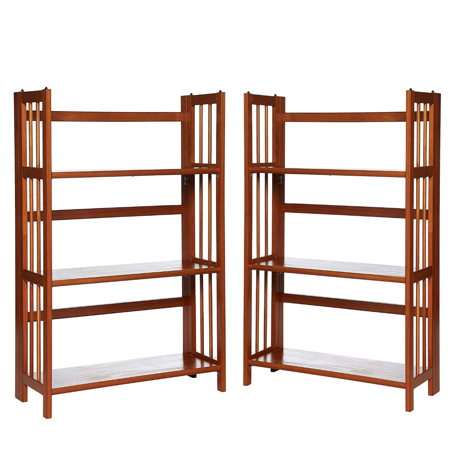 "Casual Home 3-Shelf Folding Stackable Bookcase (27.5"" Wide)-Honey Oak (Pack of 2)"